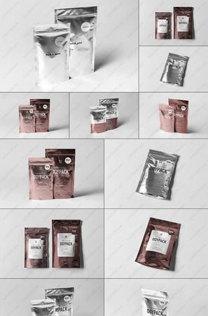 8種組合視角自立錫箔拉鏈袋貼圖樣機PSD模板
