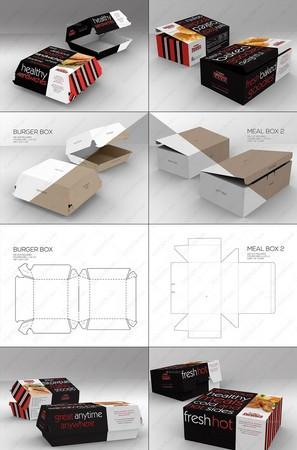 5套汉堡三明治快餐外卖纸盒包装高清样机PSD模板附刀线图