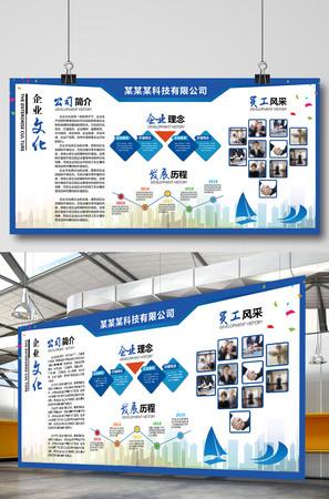 企业文化简介宣传科技蓝色展板