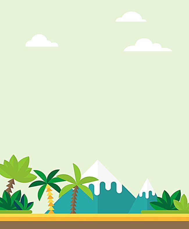 搜图中国提供独家原创矢量扁平化椰风海岛旅游风景背景下载,此素材