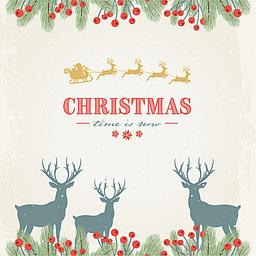 圣诞节简约驯鹿卡片背景素材
