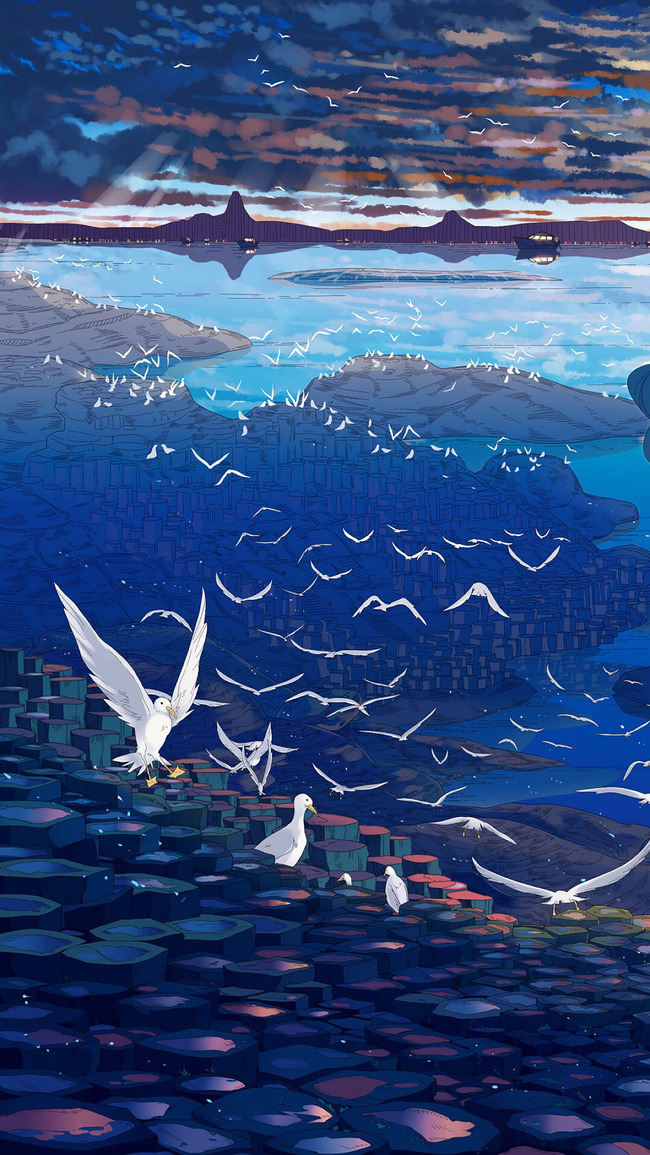 清新 手绘 蓝色 大海 海鸥 云彩 学术 教育 背景 素材 开心