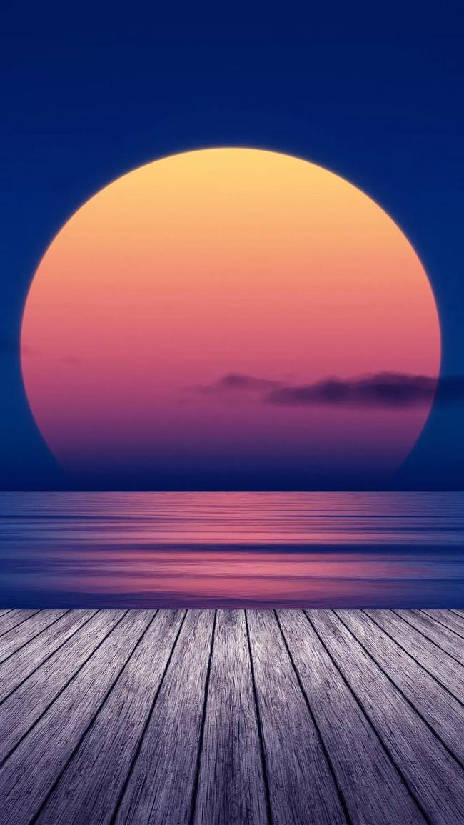 创意 海边 夕阳 风景 渐变 木板 纹理 h5背景