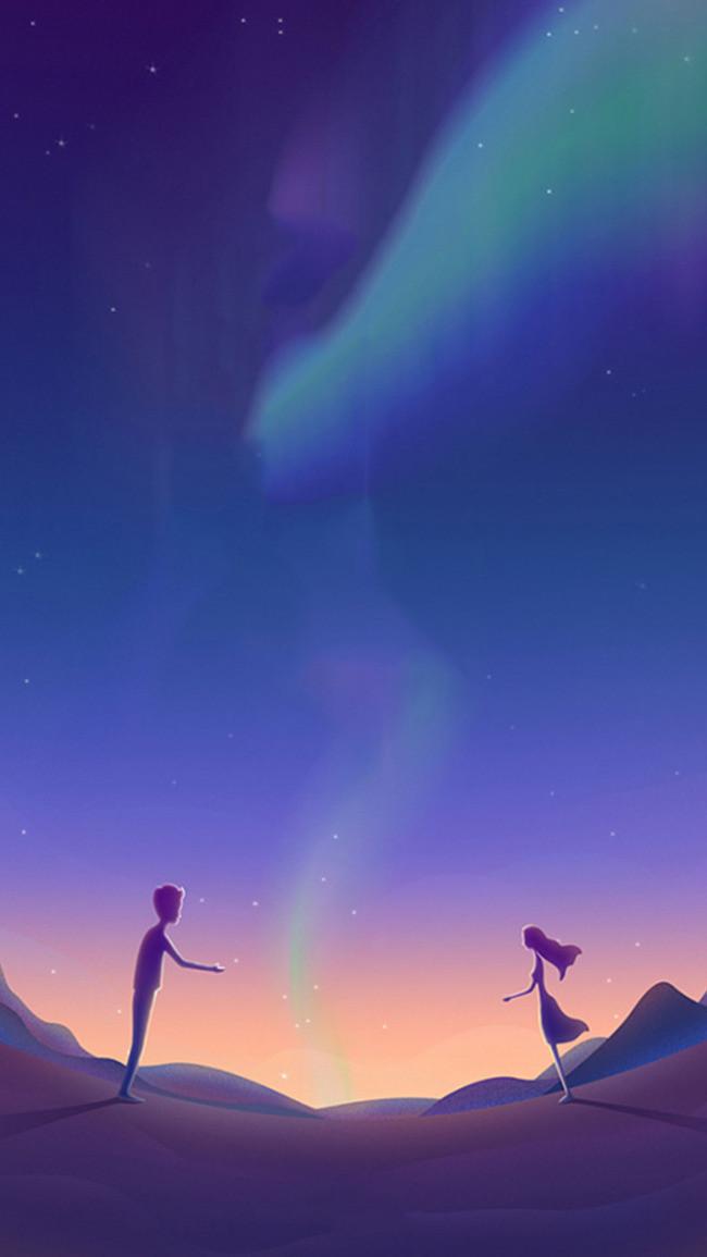 情人节 浪漫 星空 唯美 紫色背景 情侣 星空素材 扁平 h5背景素材