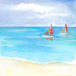 水彩手绘卡通帆船航海海报背景素材