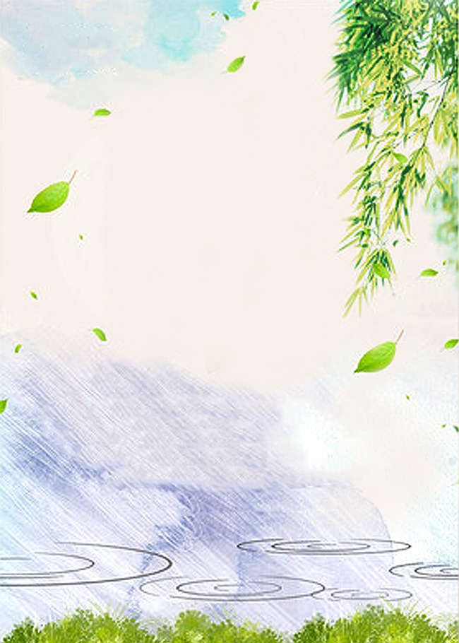 柳条 雨水 树叶 春天 小清新 柳条 春雨 背景图 素材 海报 温暖