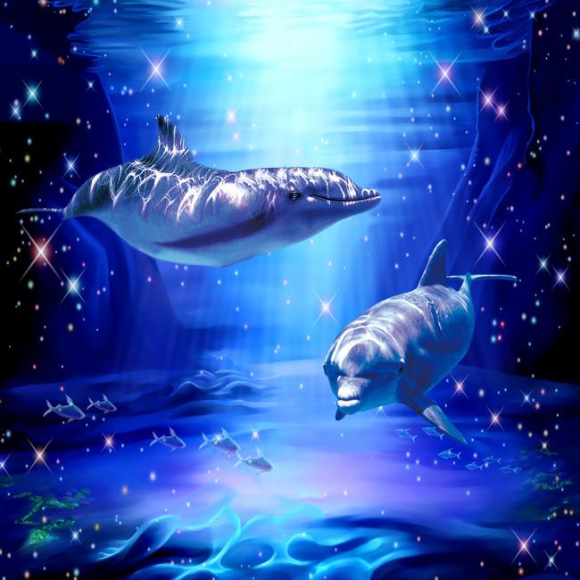 蓝色深海鲨鱼摄影平面广告图片背景素材免费下载,图片