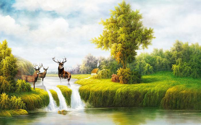 森林 麋鹿 阳光 背景墙 装饰画 鹿林 鹿 树林 晨雾 唯美 童话 梦幻