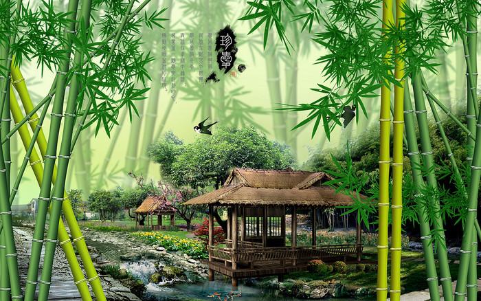 搜图中国提供独家原创中国风风景画竹子竹林电视墙设计下载,此素材
