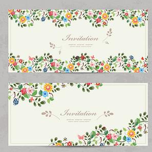卡通花卉蝴蝶邀请卡图片