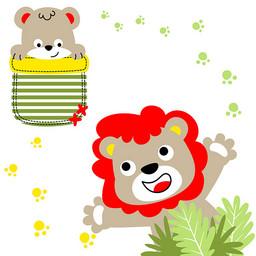 狮子小熊可爱卡通绘画壁纸
