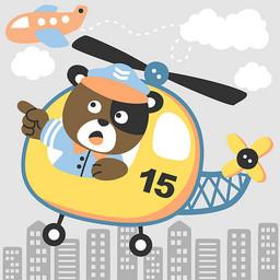 卡通手绘小熊飞机绘画图集