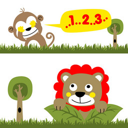 小狮子与小猴子玩捉迷藏可爱图