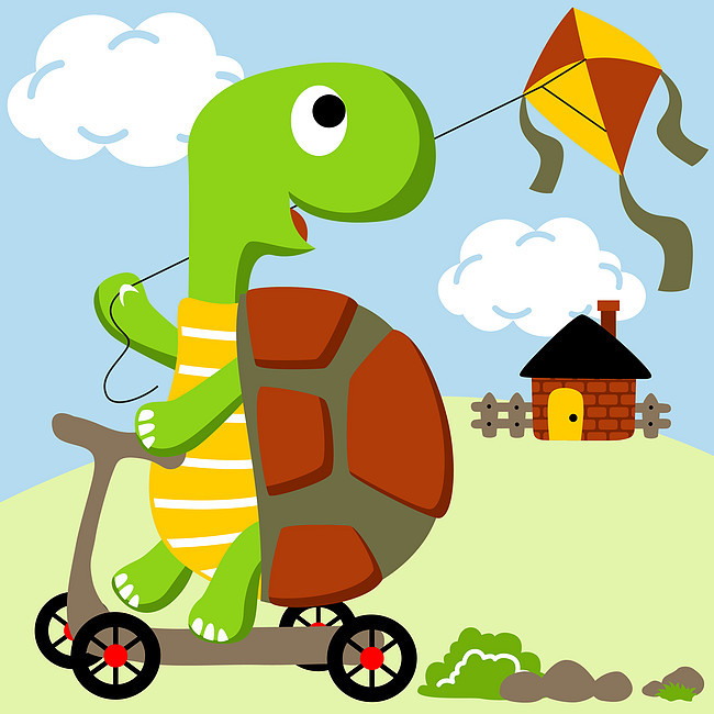 动物 欢乐 活泼 生动 【本作品下载内容为: 可爱小乌龟骑车放风筝可爱