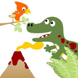 恐龙火山卡通可爱动漫壁纸