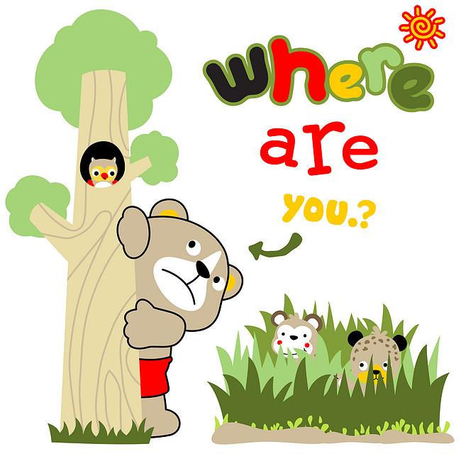 卡通动物 动物 欢乐 活泼 生动 【本作品下载内容为: 小动物捉迷藏