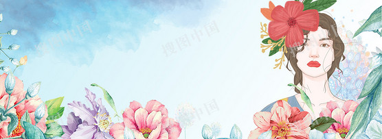 小清新浪漫三八婦女節女王節花朵背景