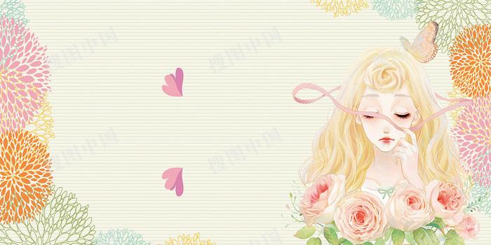 浪漫唯美女生节展板背景