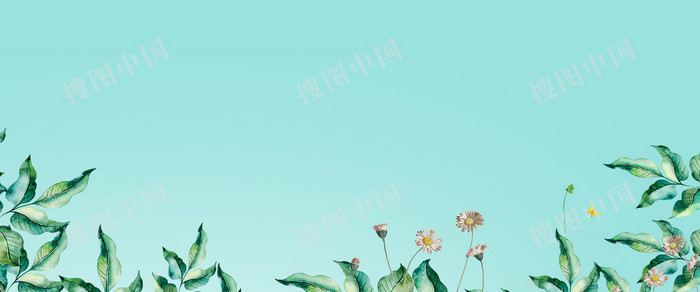 小清新簡約手繪花卉春季上新藍色背景