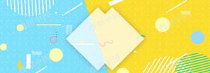 藍色粉色拼接幾何色塊banner
