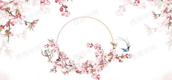 粉色小清新手绘桃花背景