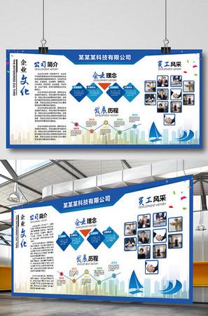 企業文化簡介宣傳科技藍色展板