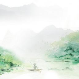 水墨风山水风景画