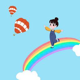 手绘脚踩彩虹自由翱翔