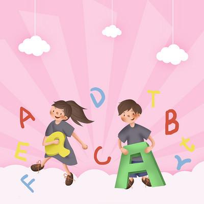 粉色小清新字母手绘背景