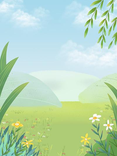 清新草地花丛春天背景设计