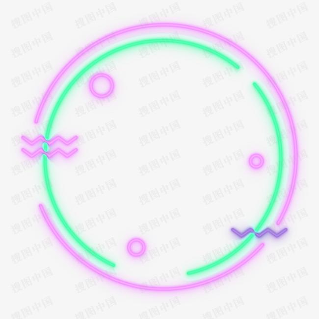 矢量圆形霓虹灯酷炫边框