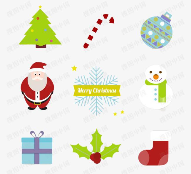 9款精致圣诞图标矢量素材图片免抠png素材免费下载