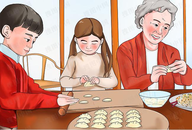 搜图中国提供独家原创手绘卡通插画全家包饺子冬至春节下载,此素材