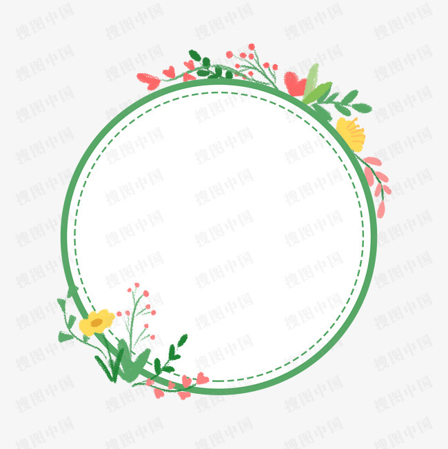 节日  花卉  蜡笔  装饰  质感  边框  卡通   手绘   插画   春天