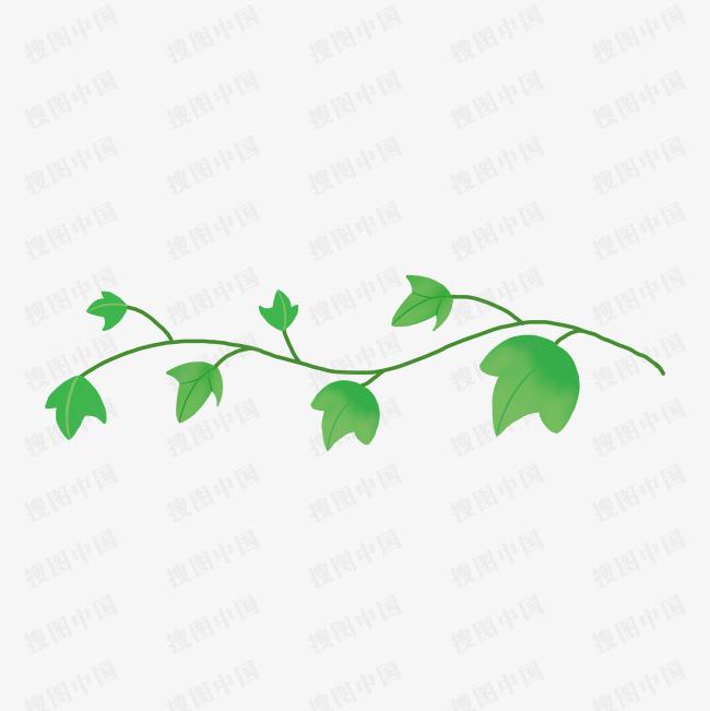带茎植物绿叶卡通手绘素材免费下