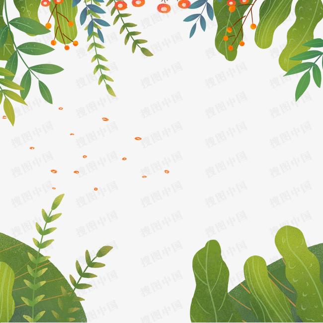 春天手绘小清新绿叶红花背景图片