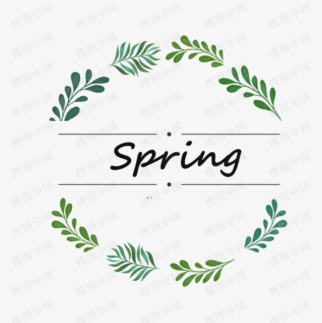 春天美麗手繪花環框