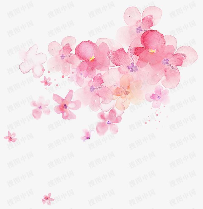 搜图中国 元素 >水彩手绘樱花背景  春天 樱花 樱花节 樱花季 赏樱花