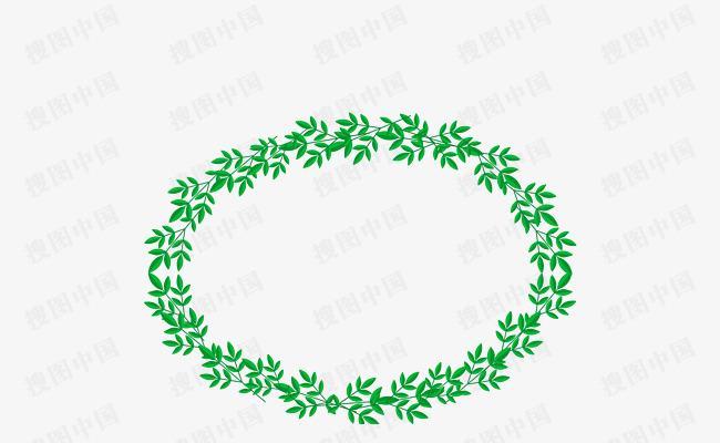 春季花草绿叶边框花环绿植纹理