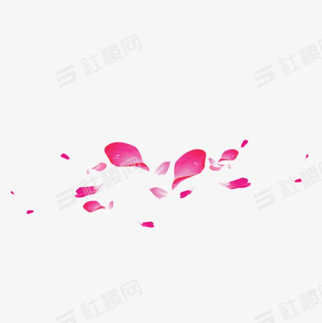 红色花瓣飘落漂浮