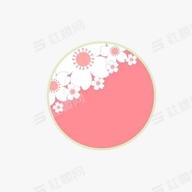 日本古典标签与樱花圆形粉色