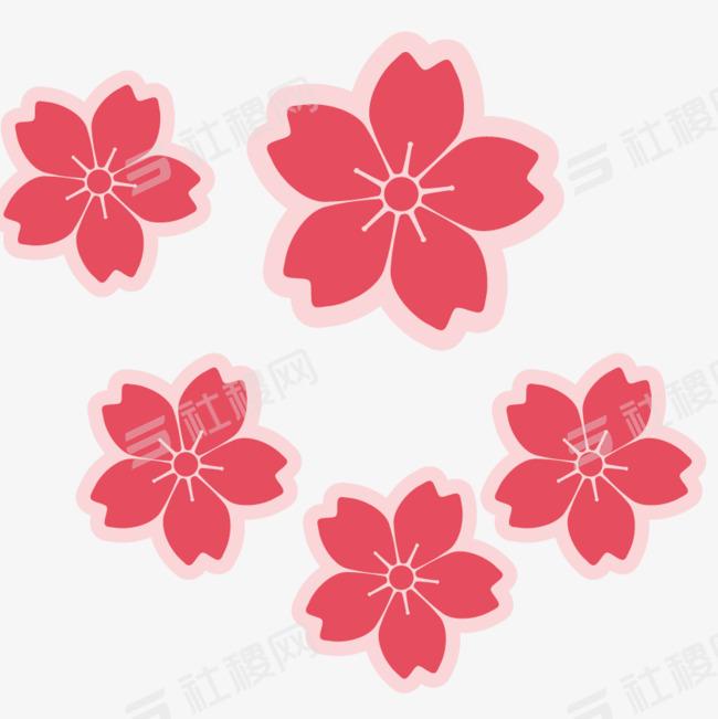 平面樱花矢量图