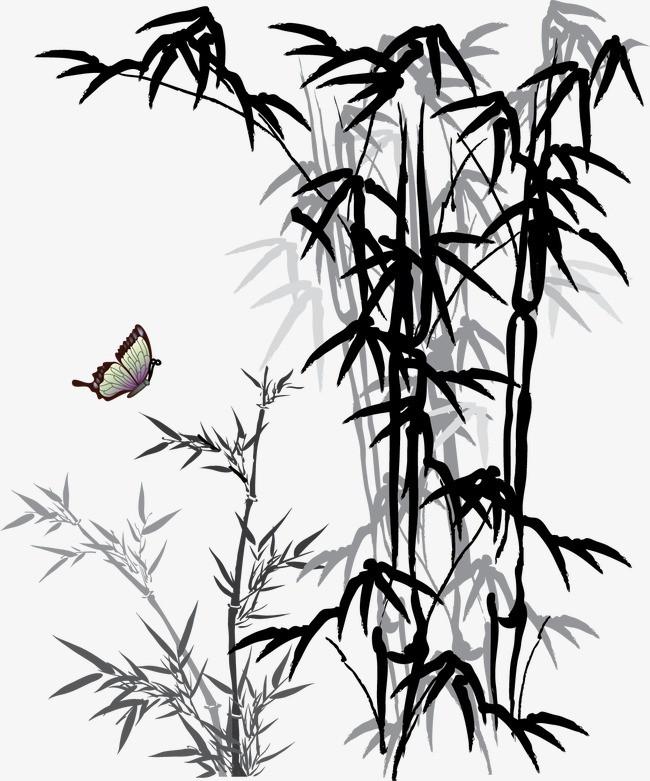 搜图中国 元素 > 竹子  竹子 蝴蝶 水墨 水墨画 中国风 【本作品下载图片