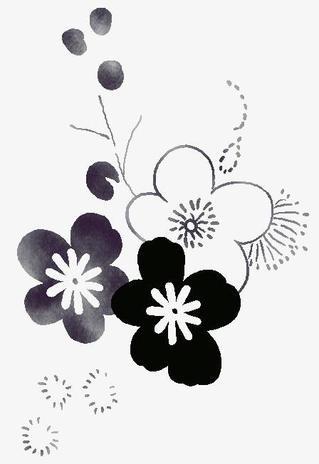 元素 >黑白线条花  黑白线条花 手绘图 手绘素材 黑白线条花手绘插画