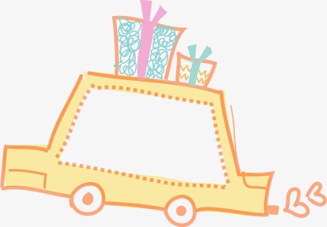 汽车 黄色 礼盒 礼品 礼物 边框 背景 【本作品下载内容为: 汽车边框