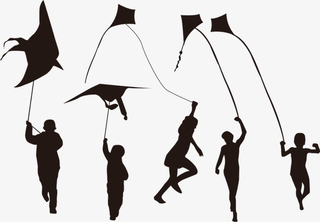 元素 >放风筝人物剪影  风筝 剪影 人物剪影 儿童 玩耍 快乐 奔跑