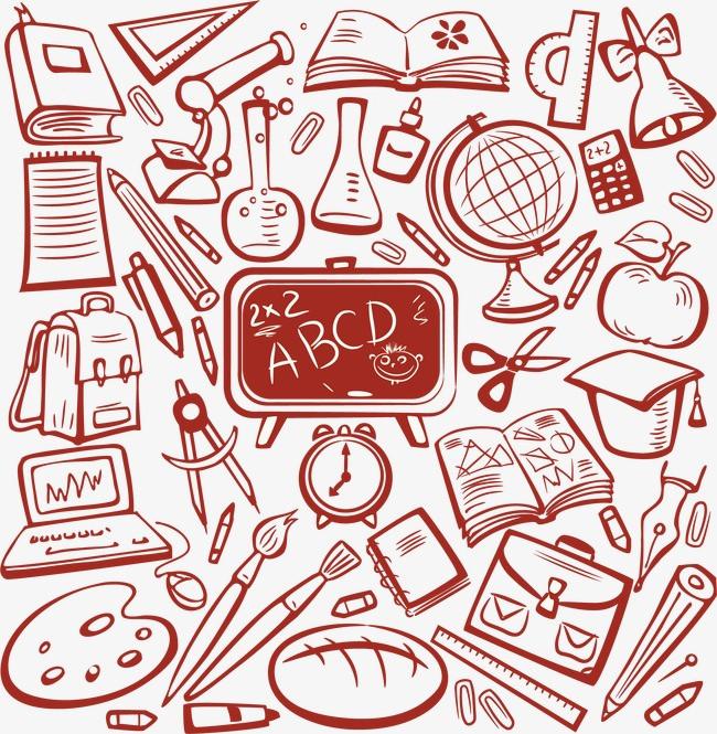 手绘卡通学习用品矢量素材下载,黑板