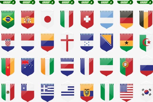 手绘 各国 国旗 元素