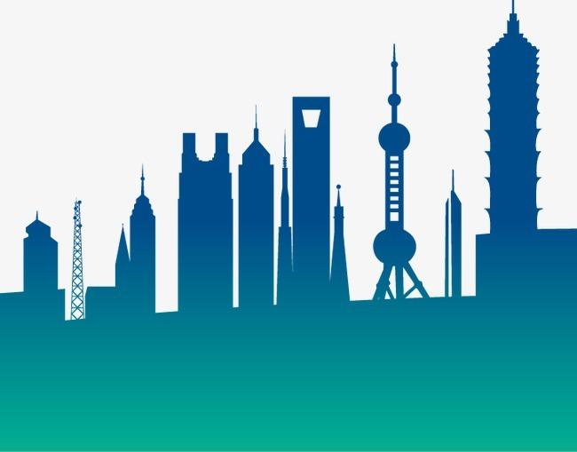 手绘 蓝色 上海 城市 大楼
