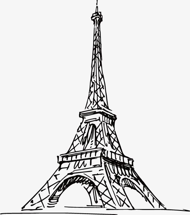 手绘 巴黎 埃菲尔铁塔 线稿图片